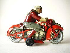 Nice tin Huki motorcycle clockwork vintage toy Made in us zone Germany 1950 | eBay