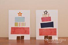Preschooler Pieced Christmas Tree Cards ~ 2paws Designs #diy #Christmas #kidcrafts via @spcoggins