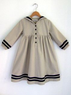DRESS LÜBECK, Beige Sailor Dress With Blue Stripes, High Waist, Soft Denim Binding Fabric. €99,00, via Etsy.