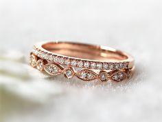 14K Rose Gold Ring Set Stacking Ring Stackable Band