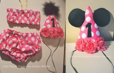 Pink Minnie Mouse Set Cake Smash Girl Cake by CakeSmashBoutique