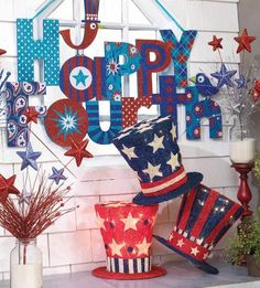 Lighted Uncle Sam Hats for Summer decorating