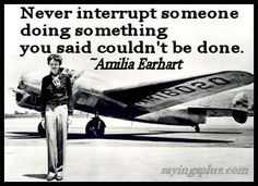 """""""Never interrupt someone doing something you said couldn't be done."""" -Amelia Earhart"""