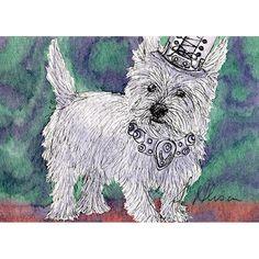 Original West Highland terrier Westie dog mini art ACEO painting steampunk - a miniature Susan Alison watercolour painting artist card