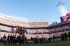 The U.S. Navy Blue Angels perform a flyover concluding the opening ceremony of Super Bowl 50 Feb. 7, 2016, at Levi's Stadium in Santa Clara, Ca. The opening ceremony included a performance by the Joint Armed Forces Choir followed by the presentation of the Colors by the Joint Armed Forces Color Guard and the singing of the National Anthem by Lady Gaga. (U.S. Army photos by Spc. Brandon C. Dyer)