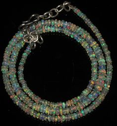 """27 Crts 1 Necklace 2 to 5 mm 16"""" Beads Natural Ethiopian Welo Fire Opal 56685"""