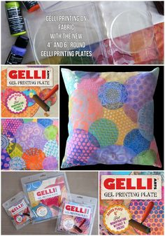 """When the 4"""" and 6"""" round Gelli plates are placed on an acrylic (clear) base, you can layer stamped images with some precision. Many of the impressions on my fabric were made by first stamping a solid opaque color, then stamping directly over it with a textured image—using stencils, combs, and other tools—in a different color."""