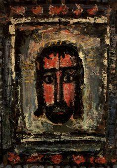 Het Heilige Gelaat ~ 1911 ~ Olieverf en gouache op papier ~ 91 x 65 cm. ~ Musée Nationale d'Art Moderne, Centre Georges Pompidou, Parijs
