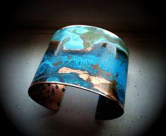 The Original Patina Cuff Mixed Verdigris 2 Copper Jewelry Tools, Jewelry Art, Jewelry Making, Jewellery, Rustic Jewelry, Copper Jewelry, Jewelry 2014, Patina Metal, Patina Color