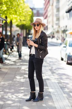 what-id-wear:  What I'd Wear : The Outfit Database (source : Stockholm Streetstyle )  Leather jacket