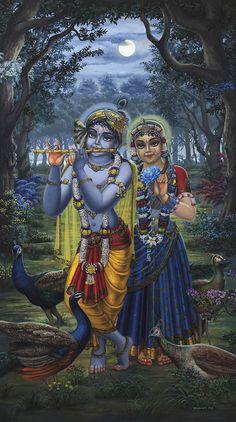 Radha et Krishna Sur Full Moon Peinture