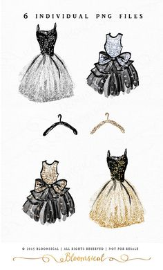 A collection of hand sketched and painted chic dresses in artistic watercolor and glamorous glitter paint in black, gold and silver. The clip art set includes 4 dresses and 2 clothes hangers. You can easily overlay a dress on top of a hanger as shown in the listing images. (2 Glitter confetti at top not included) The clip art set is perfect for business marketing, fashion boutiques, invites, websites, blogs, gift & box wrapping, envelope, party decor, planner stickers, photography market...