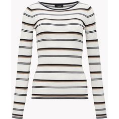 Striped Boat Sweater ($245) ❤ liked on Polyvore featuring tops, sweaters, boat neck sweater, crew neck pullover sweater, layered tops, stripe sweater and ribbed sweater