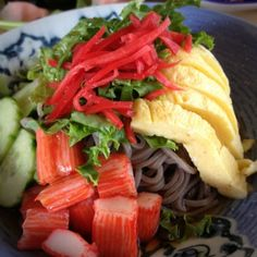 Cold Soba Noodles with Shrimp, Cucumber and Egg @ Banzai - Nice and tasty, and a beautiful dish!