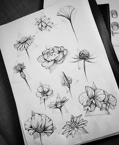 Jolies fleurs pour idées de tatouage