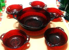 Vintage 6 PC Ruby Red Depression Glass Berry Bowl SET Coronation Anchor Hocking