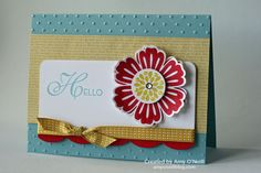 Stamps:  Mixed Bunch, Lacy & Lovely Ink:  Real Red, Baja Breeze, Summer Starfruit Paper:  Baja Breeze, Real Red, Whisper White, In-Color dsp stack Embellishments:  Blossom punch, 1″ Circle punch, Large Scallop edgelits, Perfect Polka Dots embossing folder, 3/16″ Corner punch, Basic Rhinestone Jewels, Dazzling Details, Summer Starfruit 3/8″ Stitched Satin Ribbon