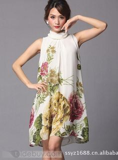 Cheap New Summer Floral Imprint Day Dress