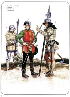 Footsoldiers 1460s-70s 1:Billman 2:Longbowman 3:Hallberdier