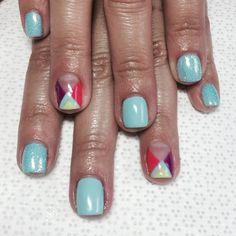 Sibyl's #gelnails #brights #artiglioglitter #gelish #presto #nails #naildesign #Padgram
