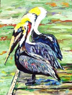 Pelican art painting available as Giclee print in different sizes by Florida artist Kim Rody.