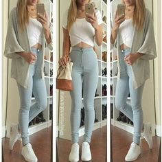 fashion, outfit, and jeans image Outfit Jeans, Superenge Jeans, High Jeans, High Waist Jeans, Skinny Jeans, Blue Jeans, Crop Jeans, Teen Fashion, Korean Fashion