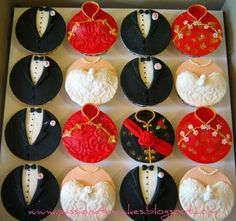 East Meets West wedding cupcakes by Man Kwan of Passionate Cakes