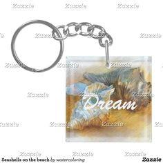 Seashells on the beach Single-Sided square acrylic keychain
