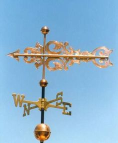 Italian Banner Weather Vane by West Coast Weather Vanes.  This custom made handcrafted Italian Banner weathervane can be made using a variety of metals and adding optional gold or palladium leafing.