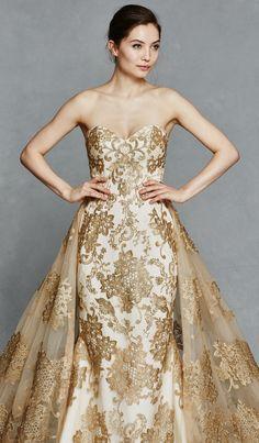 Gold wedding dress with removable lace train | 'Gwendolyn' Fall 2017 #KellyFaetanini | Find a bridal location near you! http://www.kellyfaetanini.com/retaillocations/