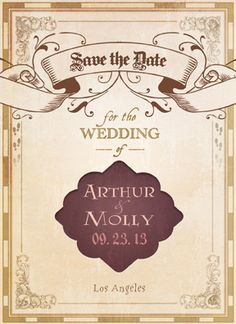 Love this! Discount on Geek Chic Wedding Save the Date Evites ~ like this #HarryPotter Save the Date! [click for discount info!]