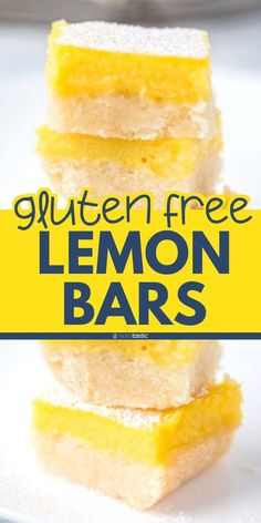 Easy Gluten Free Lemon Bars Recipe, With A Thick Layer Of Lemon Topping And Gluten Free Shortbread Crust. Dairy Free Lemon Bars, Gluten Free Lemon Bar Recipe, Lemon Bars Healthy, Easy Gluten Free Desserts, Gluten Free Cookie Recipes, Gluten Free Cakes, Lemon Recipes, Gluten Free Baking, Vegan Recipes Easy