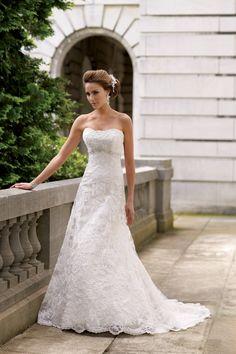 David Tutera for Mon Cheri Empire Floor Garden Lace Strapless Tulle Vineyard Wedding Dresses Photos & Pictures - WeddingWire.com