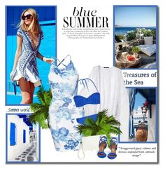 """""""Blue summer!!"""" by lilly-2711 ❤ liked on Polyvore featuring CO, Monsoon, Dorothy Perkins and Aquazzura"""