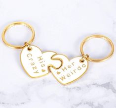 His Crazy Her Weirdo Matching Couple Gift Keychains (Romantic Valentines Day gifts for boyfriend)