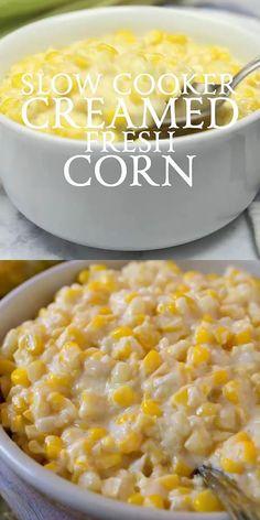 Slow Cooker Creamed Fresh Corn transforms fresh corn kernels into delicious, creamy comfort food! Slow Cooker Creamed Corn, Crock Pot Slow Cooker, Slow Cooker Recipes, Cooking Recipes, Fresh Corn Recipes, Creamed Corn Recipes, Vegetable Recipes, Popcorn Recipes, Soup Recipes