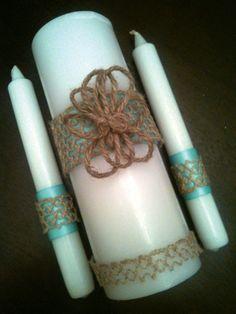 Unity Candle Set for Weddings  Rustic Burlap by littledivashoppe