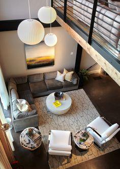 Brilliant overhaul to an old industrial loft in Dallas Alcala Kind Design Charles Taylor, an interior/furniture designer in Dalla. Loft Living, Living Room Inspiration, Home Interior Design, House Design, Livingroom Layout, Living Room Modern, Interior Design, Loft Inspiration, House Interior