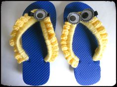 Any minion  fans out there?...   How about crocheted minion fans?         I just finished this pair of minion flip-flops, inspired by THIS ...