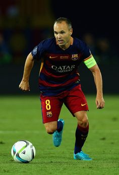 Andres Iniesta of Barcelona on the ball during the UEFA Super Cup between Barcelona and Sevilla FC at Dinamo Arena on August 11, 2015 in Tbilisi, Georgia.