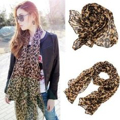 """Fashion Chiffon Leopard Pattern Shawl Scarf Wrap for Women by Nicky's Gift. $5.09. Color: brown. Material: rayon and nylon. Package includes: 1 leopard scarf. Size: Length: app 156cm (61.4"""") Width: app 46~56cm (22.0"""") Package includes: 1 leopard scarf Color: brown Weight: about 55g Material: rayon and nylon"""