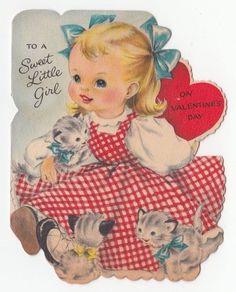 Vintage Greeting Card Valentine Cat Kitten Sweet LIttle Girl Hallmark Die-Cut