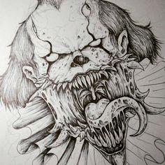 Scary Drawings, Badass Drawings, Dark Art Drawings, Pencil Art Drawings, Art Drawings Sketches, Arte Horror, Horror Art, Joker Art, Neue Tattoos