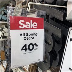Gondola Upright-Mount Perpendicular Arms create the repetition for this Spring Decor Sale Sign Redundancy. Sale pronouncements stretch off into the distance Retail Fixtures, Michael Store, For Sale Sign, Bag Design, Silent Night, Jute, Signs, Spring, Decor