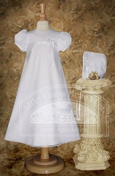 A-Line Christening Gown with Sheer Overlay