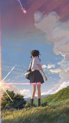Kimi No Na Wa Wallpaper, Wallpaper Wa, Couple Wallpaper, Anime Scenery Wallpaper, Disney Wallpaper, Arte Do Kawaii, Kawaii Anime, Animes Wallpapers, Cute Wallpapers