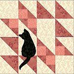 Cherokee Spirit quilt block with cat silhouette