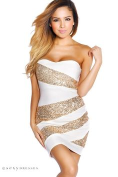 Strapless White Party Dress with Gold sequins #PinYourWish and @shopsexydresses