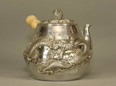 Japanese Silver Dragon Teapot  w Crystal Pearl