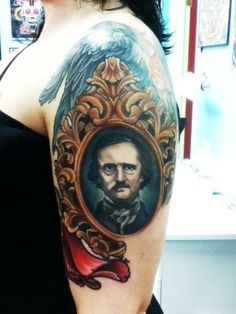 I don't think anyone understands how bad I want an Edgar Allen Poe tattoo. I don't think anyone understands how bad I want an Edgar Allen Poe tattoo. Pin Up Tattoos, Great Tattoos, Beautiful Tattoos, Body Art Tattoos, Tatoos, Portrait Tattoos, Skull Tattoos, Tattoo Art, Edgar Allen Poe Tattoo